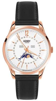 Richmond Henry London Leather Strap Watch, 39mm