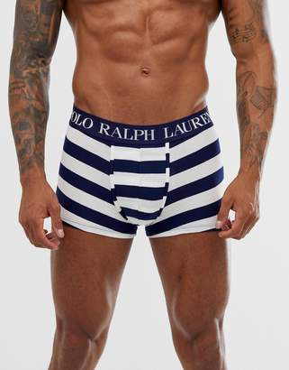 Polo Ralph Lauren classic trunk with polo player and contrast logo waistband in blue/white stripe