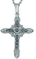 Marcasite Silvertone Cross 18