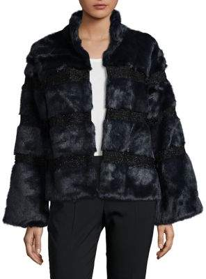 Donna Salyers Faux Fur Evening Jacket