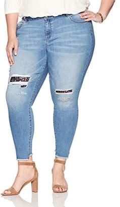 Denim Crush Women's Lacey Patch Repair Skinny Jean Plus Size