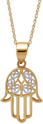 FINE JEWELRY Infinite Gold 14K Yellow Gold Filigree Hamsa Pendant Necklace