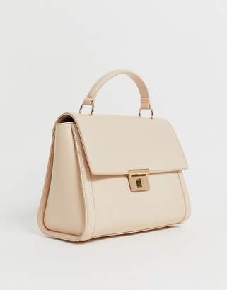 Asos Design DESIGN clean structured tote bag with plate detail