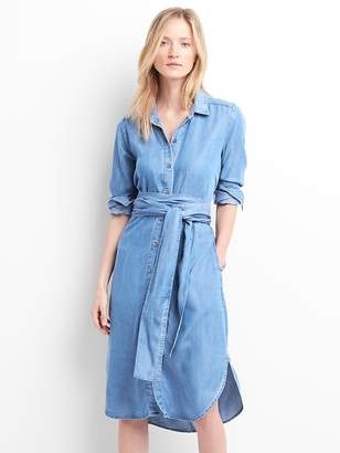 Gap TENCEL tie-waist midi shirt dress