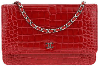 Chanel Red Alligator Leather Wallet On Chain
