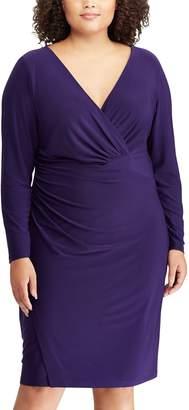Chaps Plus Size Faux-Wrap Dress