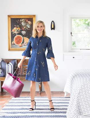 Draper James Embroidered Chambray Shirtdress