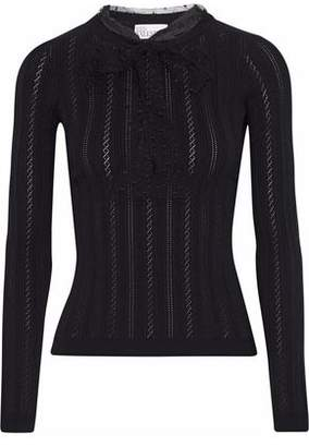 RED Valentino Point D'esprit-trimmed Ribbed And Pointelle-knit Sweater