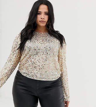 Asos DESIGN Curve long sleeve top with sequin embellishment