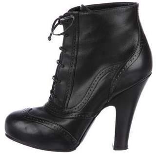 Bottega Veneta Leather Brogue Ankle Boots