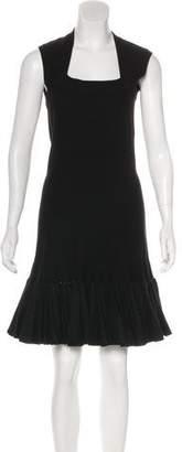 Alaia Fit & Flare Virgin Wool Dress