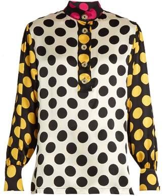 DURO OLOWU Large polka-dot print silk-satin blouse