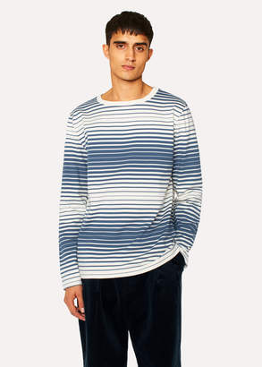 Paul Smith Men's Off-White and Slate Blue Stripe Long-Sleeve Red Ear T-Shirt