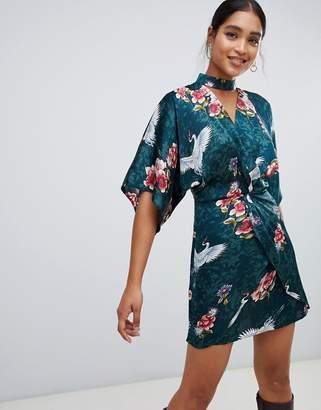 Liquorish kimono floral and bird print mini dress with choker neck and twist front
