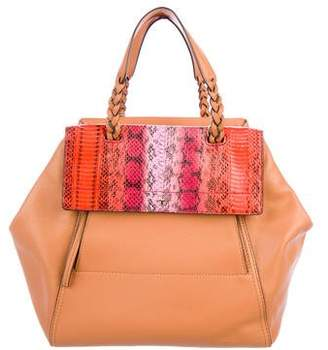 Tory Burch Python-Trimmed Leather Satchel w/ Tags