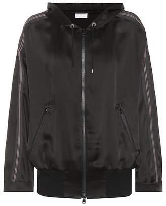 Brunello Cucinelli Hooded satin zip jacket