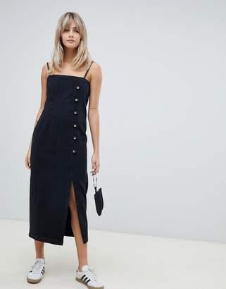 Asos DESIGN button side midi denim dress in washed black