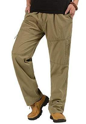 CardanWolf Men's Big and Tall Relaxed Cotton Full Elastic Waist Cargo Pants Baggy Trousers4XL