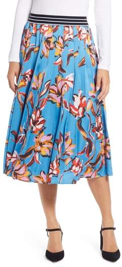 Halogen(R) Printed Pleated Maxi Skirt