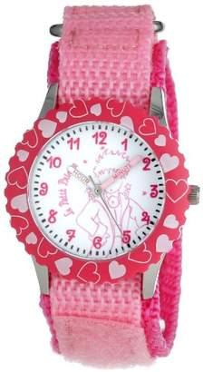 EWatchFactory Little Prince Kids' W000817 Stainless Steel Time Teacher Pink Hearts Bezel Pink Velcro Strap Watch