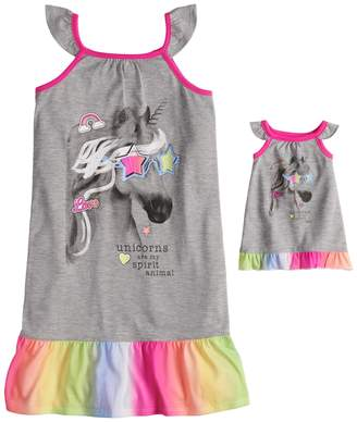 So Girls 4-14 & Plus Size SO Flutter Sleeve Knee Length Nightgown & Doll Nightgown