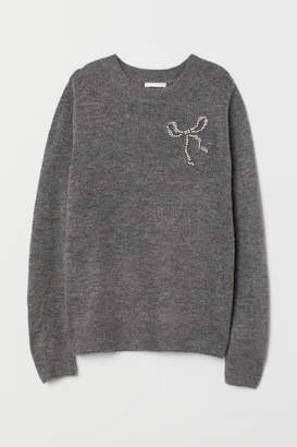 H&M Knit Sweater with Motif - Gray