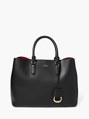 Ralph Lauren Ralph Marcy Large Leather Satchel Bag, Black/Red