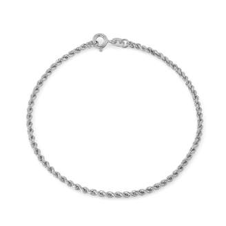 FINE JEWELRY Sterling Silver 7.5 Inch Solid Rope Chain Bracelet
