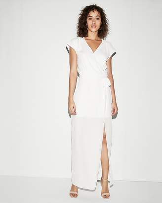 Express Rolled Sleeve Surplice Maxi Dress