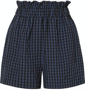Tibi Gingham Seersucker Shorts - Navy