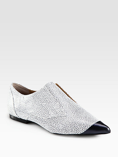 3.1 Phillip Lim Pebbled Leather Laceless Oxfords