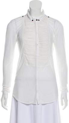 Burberry Silk-Trimmed Button-Up Blouse