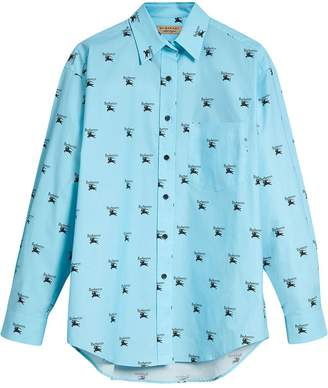 Burberry Logo Print Stretch Cotton Shirt