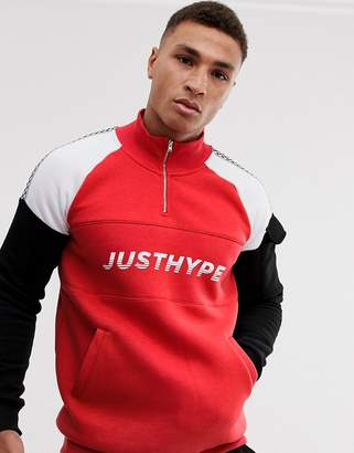 Hype panelled zip sweater