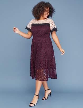 Lane Bryant Colorblock Lace Midi Dress