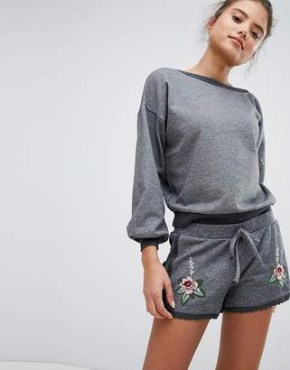 Hunkemoller Knits And Pleats Embroidered Shorts