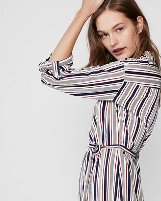 Express Striped Long Sleeve Shirt Dress