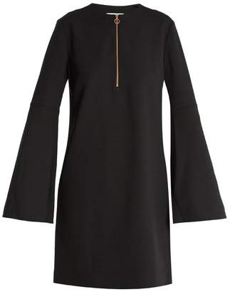 Tibi Zip Front Crepe Mini Dress - Womens - Black