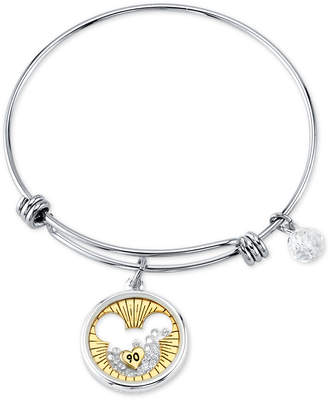 Disney Mickey Mouse Crystal Charm Bangle Bracelet for Unwritten in Stainless Steel and Gold-Tone