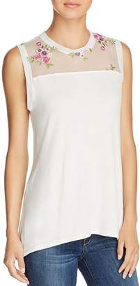 Kim & Cami Floral-Embroidered Tank