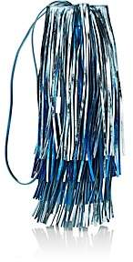 Calvin Klein Women's Fringed Leather Bucket Bag - Blue
