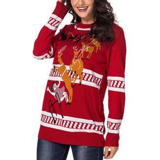 08065065f7f5 Paskyee Women s Snowman Knitted Ugly Christmas Sweater Cute Pullover Jumpers
