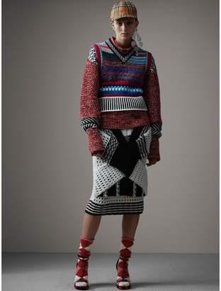 Burberry Knitted Wool Cross-panel Skirt