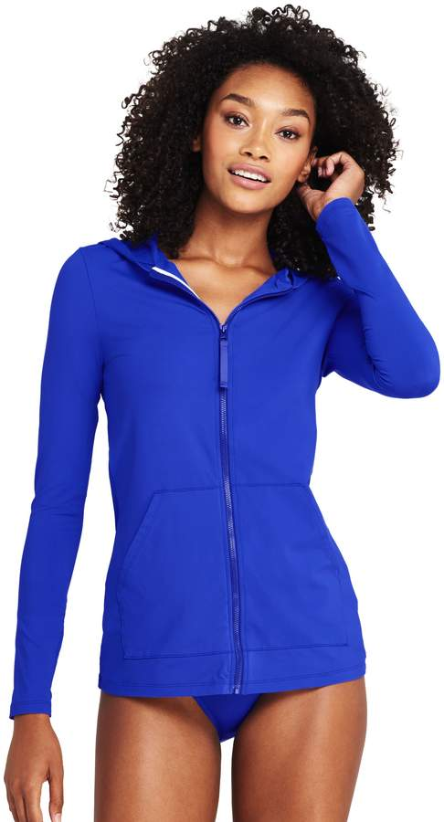 Lands'end Women's Long Zip-front Swim Cover-up Rash Guard