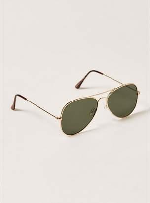 Topman Mens Gold And Green Hunter Aviator Sunglasses