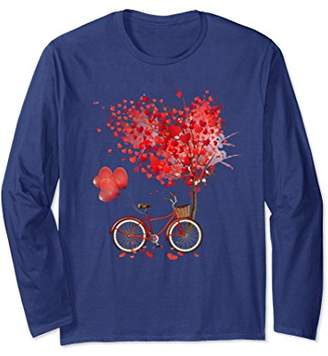 Lovely Vintage Red Bicycle Flowers Balloon Heart Long Sleeve
