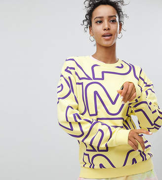 Puma Exclusive To ASOS Sweatshirt With All Over Logo In Yellow
