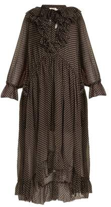 Zimmermann Painted Heart Ruffle Polka Dot Print Silk Dress - Womens - Charcoal Print