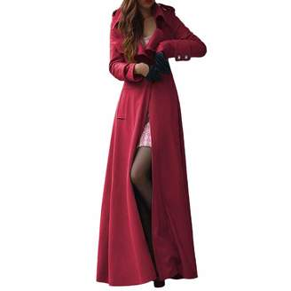 Srogem Womens Women's Wool Coat Fall Winter Long Maxi Jacket Slim Fit Outwear Coat (XL, )
