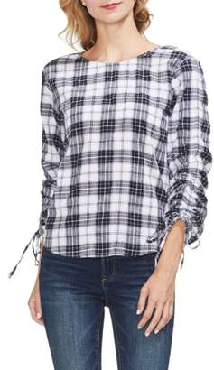 Vince Camuto Ruched Long Sleeve Tartan Plaid Blouse